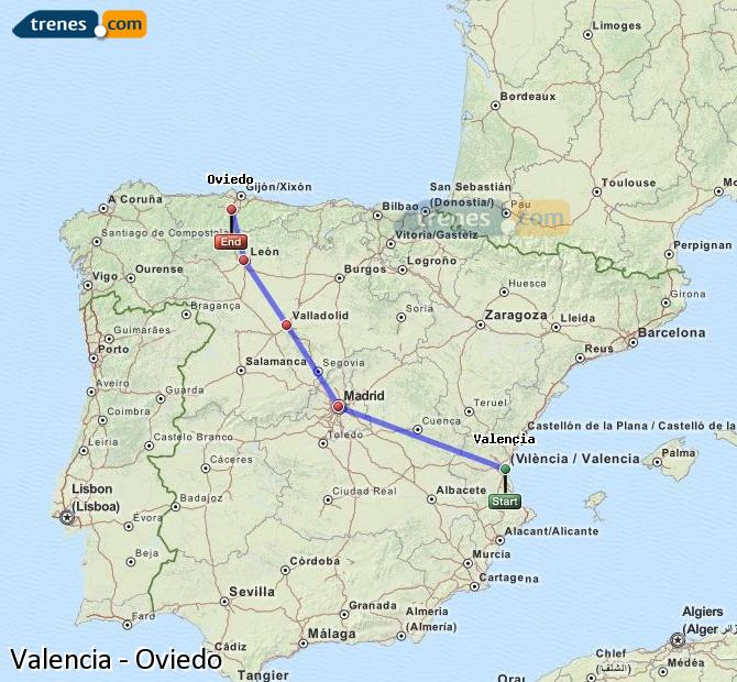 Enlarge map Trains Valencia to Oviedo
