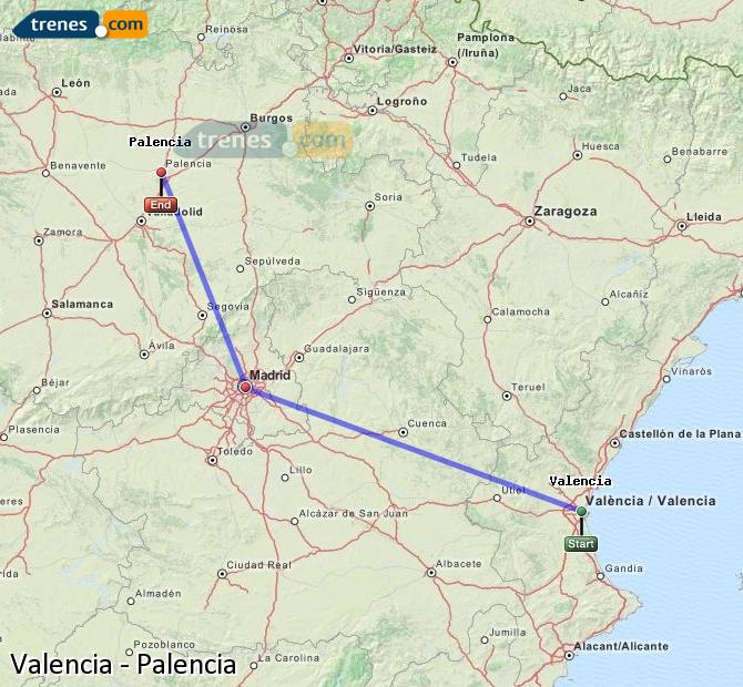 Enlarge map Trains Valencia to Palencia
