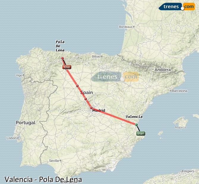 Ampliar mapa Trenes Valencia Pola De Lena