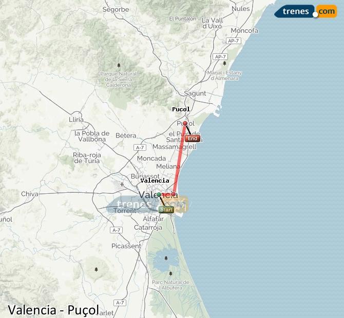 Karte vergrößern Züge Valencia Puçol