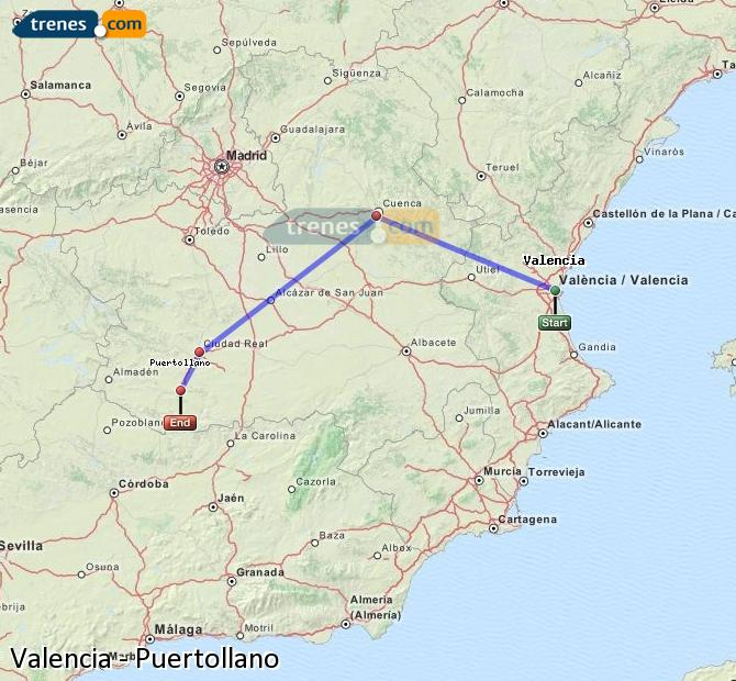 Enlarge map Trains Valencia to Puertollano