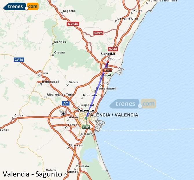Enlarge map Trains Valencia to Sagunto