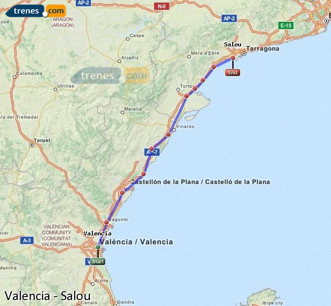 Enlarge map Trains Valencia to Salou