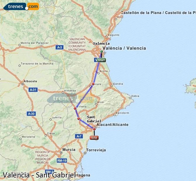 Agrandir la carte Trains Valence Sant Gabriel