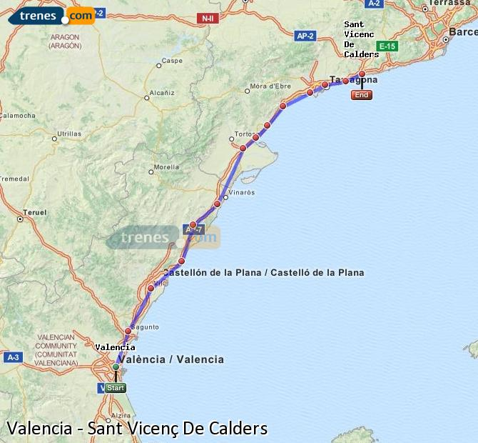 Enlarge map Trains Valencia to Sant Vicenç De Calders