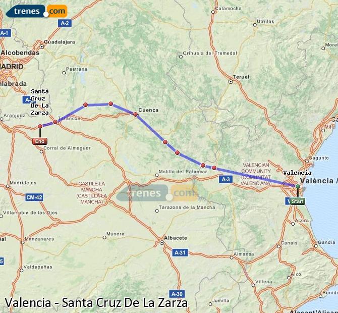 Enlarge map Trains Valencia to Santa Cruz De La Zarza