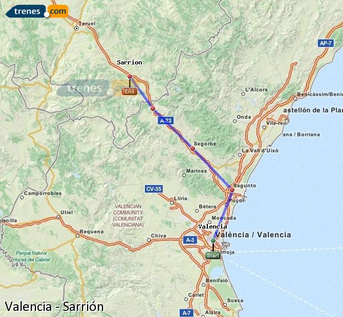 Enlarge map Trains Valencia to Sarrión