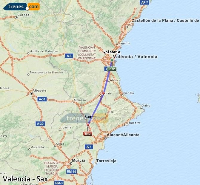 Enlarge map Trains Valencia to Sax