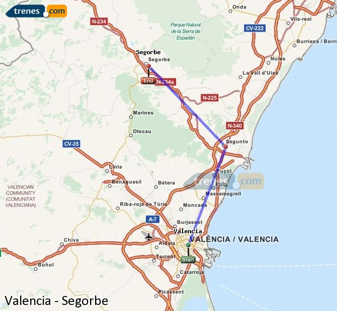 Enlarge map Trains Valencia to Segorbe