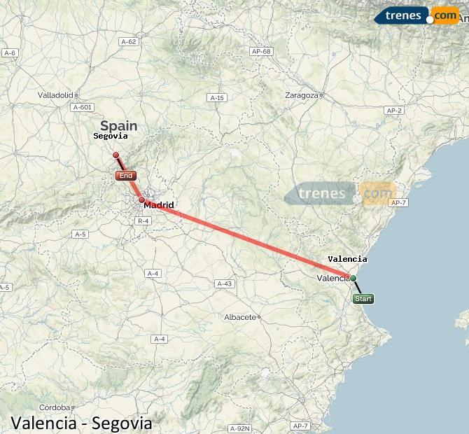 Ingrandisci la mappa Treni Valencia Segovia
