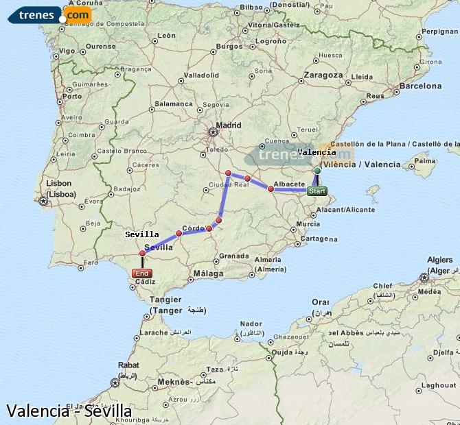 Ampliar mapa Comboios Valencia Sevilla