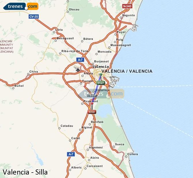 Enlarge map Trains Valencia to Silla