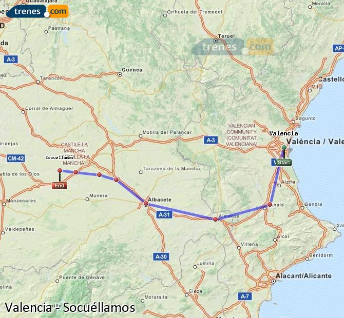 Enlarge map Trains Valencia to Socuéllamos