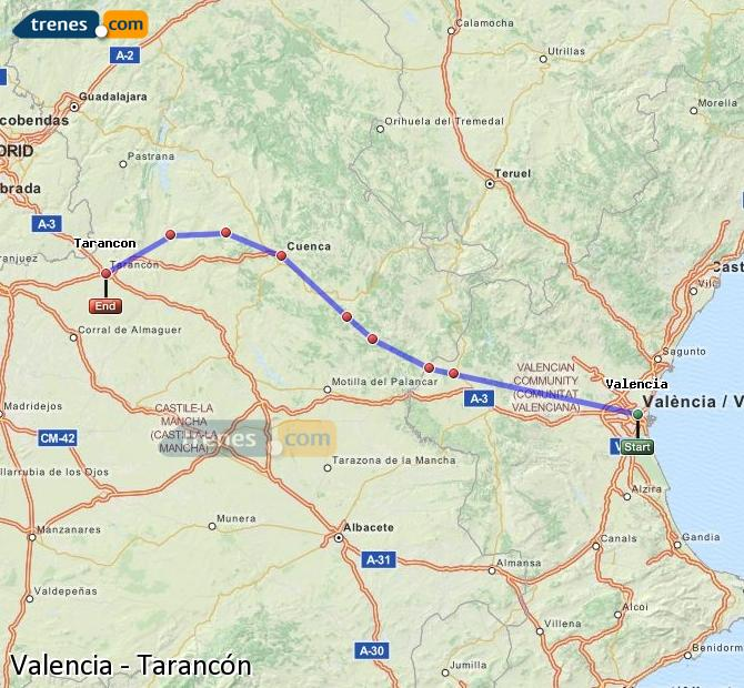 Enlarge map Trains Valencia to Tarancon