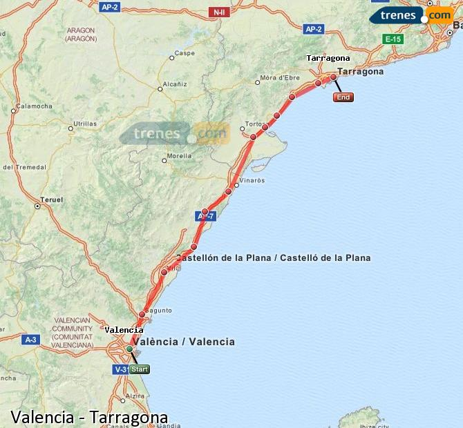 Enlarge map Trains Valencia to Tarragona