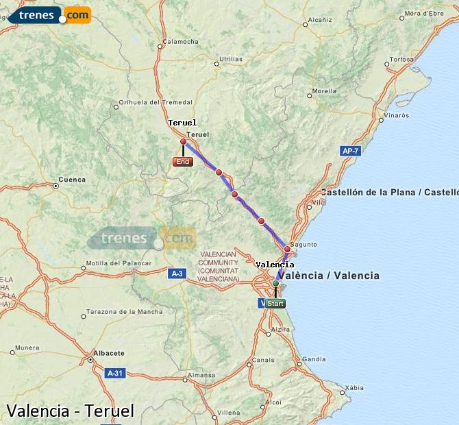 Trains Valencia to Teruel