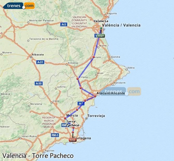 Ampliar mapa Trenes Valencia Torre Pacheco