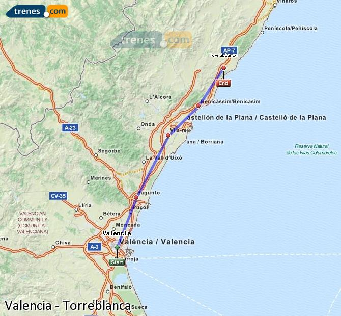 Enlarge map Trains Valencia to Torreblanca