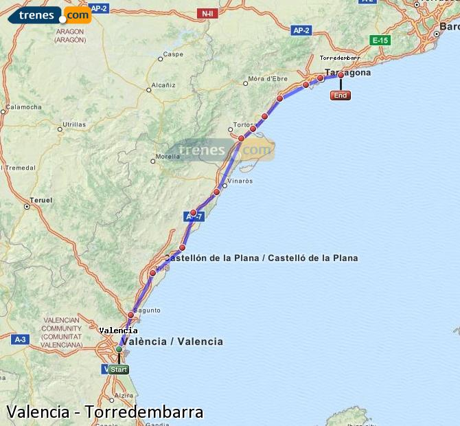 Enlarge map Trains Valencia to Torredembarra