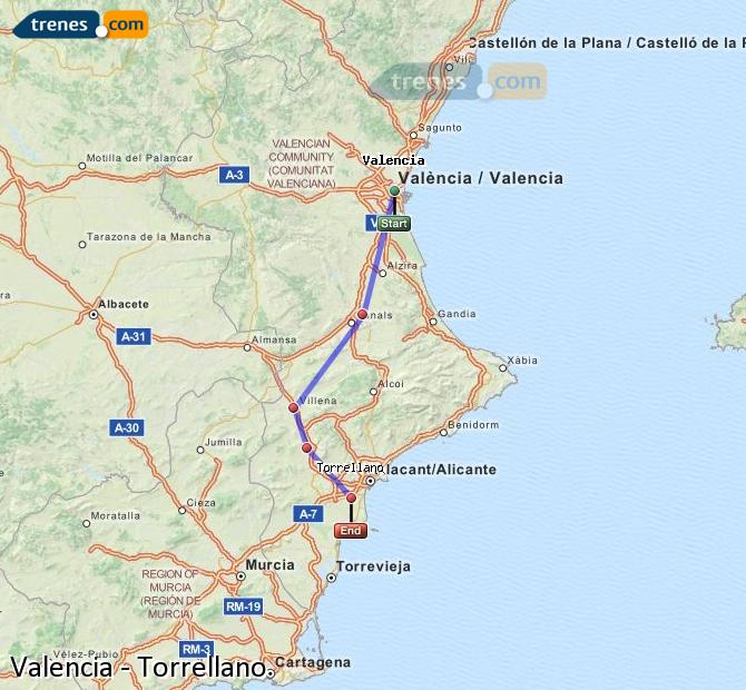 Enlarge map Trains Valencia to Torrellano