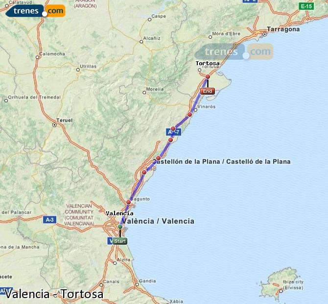 Enlarge map Trains Valencia to Tortosa