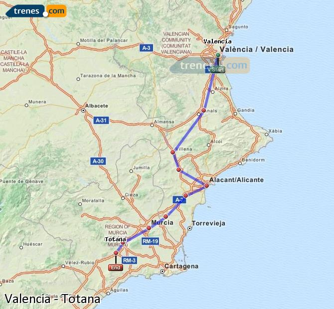Enlarge map Trains Valencia to Totana