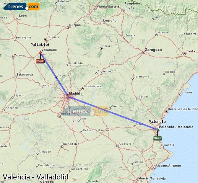 Enlarge map Trains Valencia to Valladolid