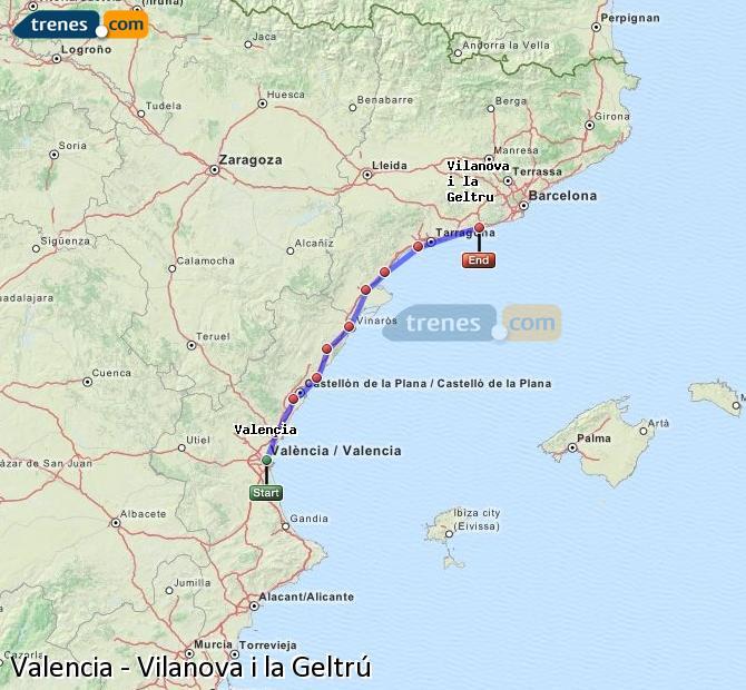 Agrandir la carte Trains Valence Vilanova i la Geltrú