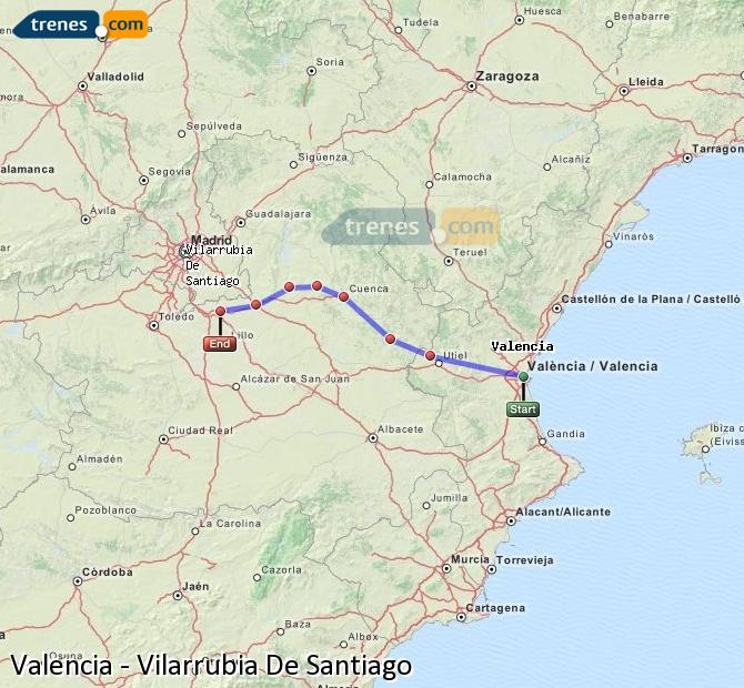Enlarge map Trains Valencia to Vilarrubia De Santiago