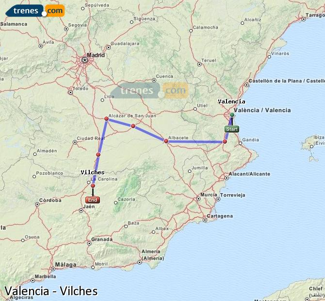 Enlarge map Trains Valencia to Vilches