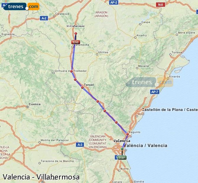 Enlarge map Trains Valencia to Villahermosa