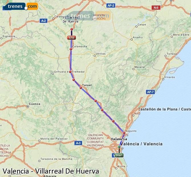 Enlarge map Trains Valencia to Villarreal De Huerva