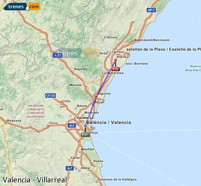 Enlarge map Trains Valencia to Villarreal