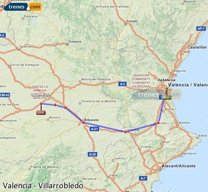 Karte vergrößern Züge Valencia Villarrobledo