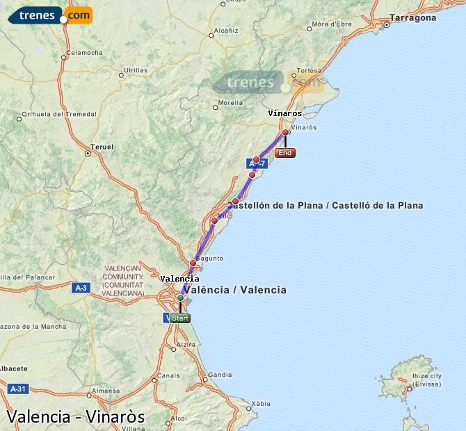 Agrandir la carte Trains Valence Vinaròs