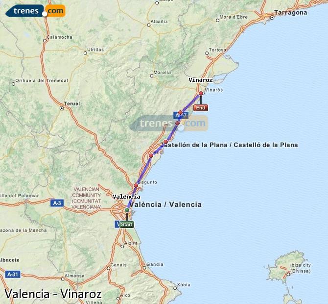 Ampliar mapa Trenes Valencia Vinaroz