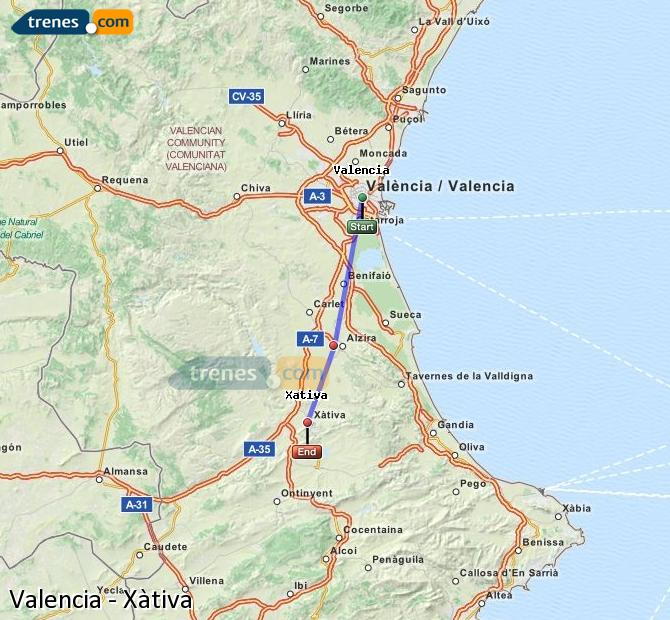 Enlarge map Trains Valencia to Xativa