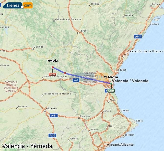 Enlarge map Trains Valencia to Yemeda