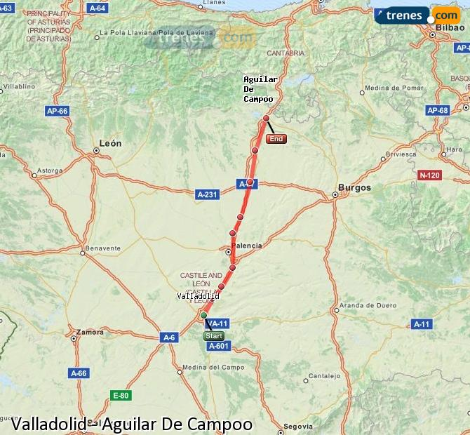 Ingrandisci la mappa Treni Valladolid Aguilar De Campoo