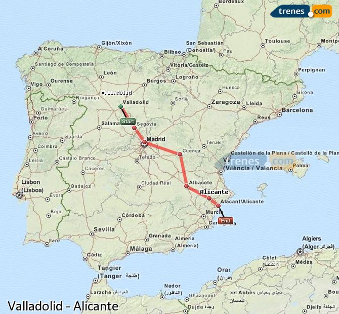 Enlarge map Trains Valladolid to Alicante