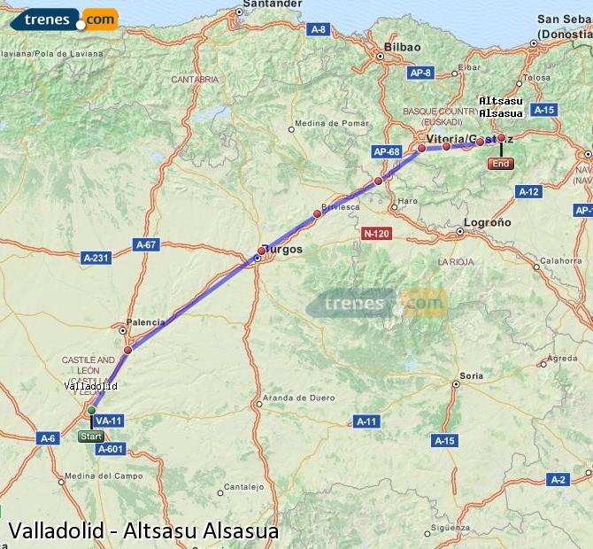 Agrandir la carte Trains Valladolid Altsasu Alsasua