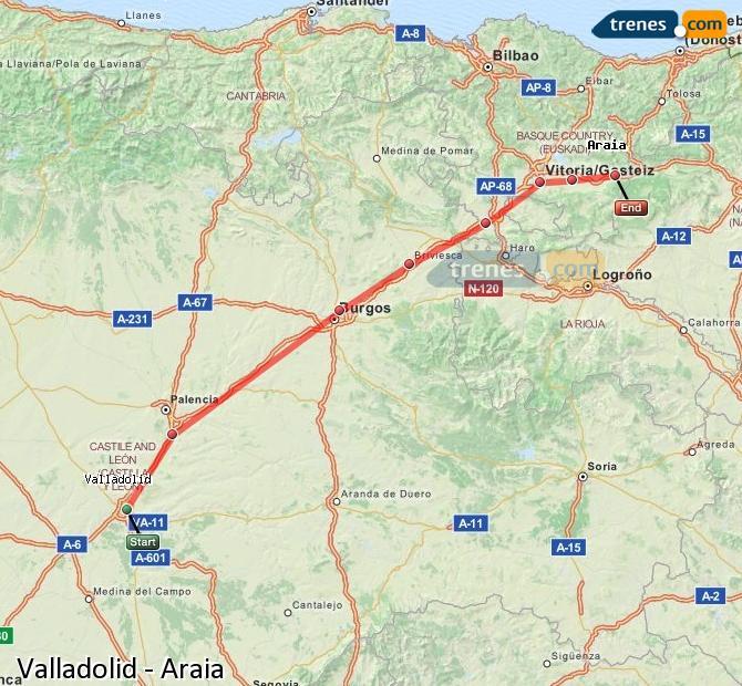 Karte vergrößern Züge Valladolid Araia