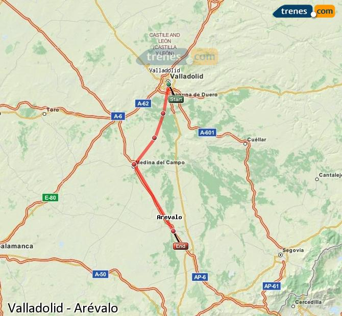 Ampliar mapa Comboios Valladolid Arévalo
