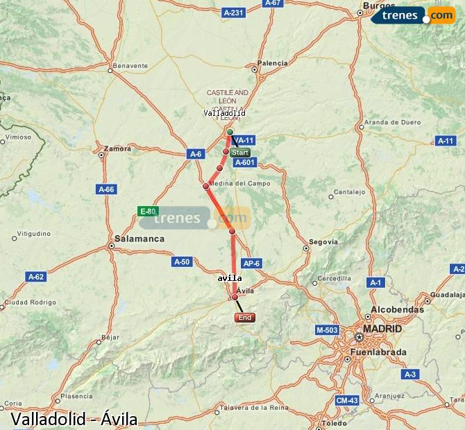 Enlarge map Trains Valladolid to Avila