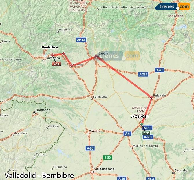 Agrandir la carte Trains Valladolid Bembibre