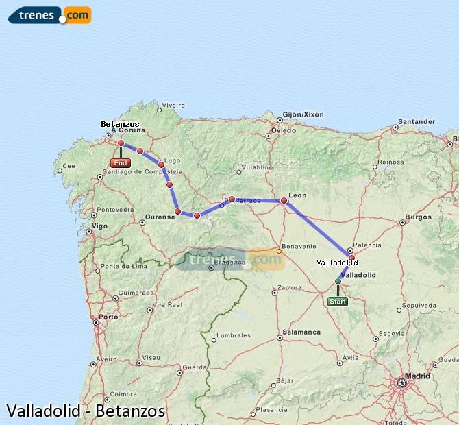 Ampliar mapa Comboios Valladolid Betanzos