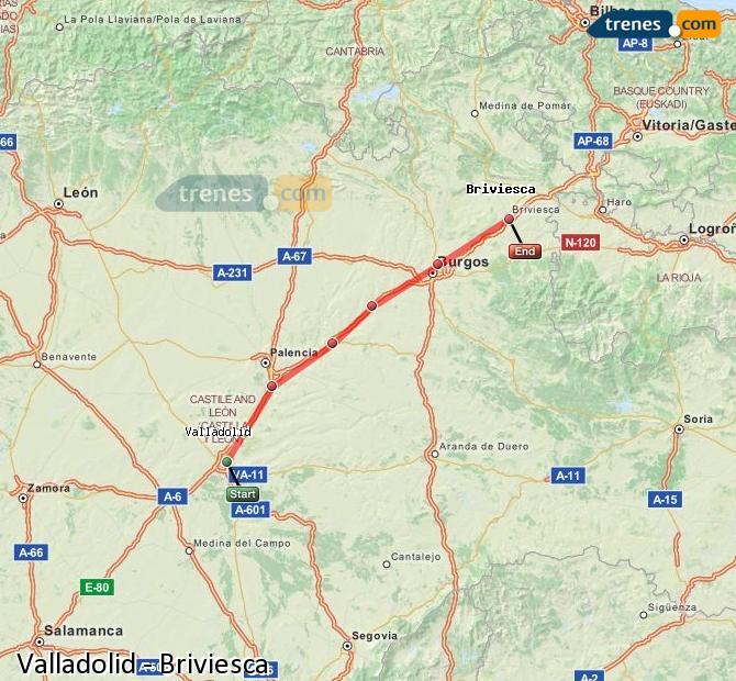Ingrandisci la mappa Treni Valladolid Briviesca