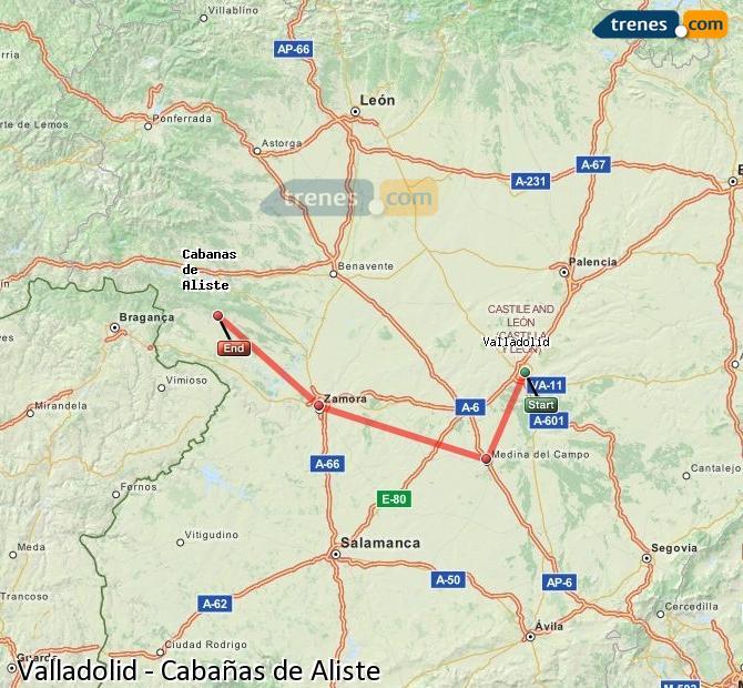 Ampliar mapa Trenes Valladolid Cabañas de Aliste