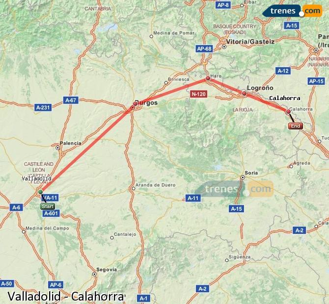 Karte vergrößern Züge Valladolid Calahorra