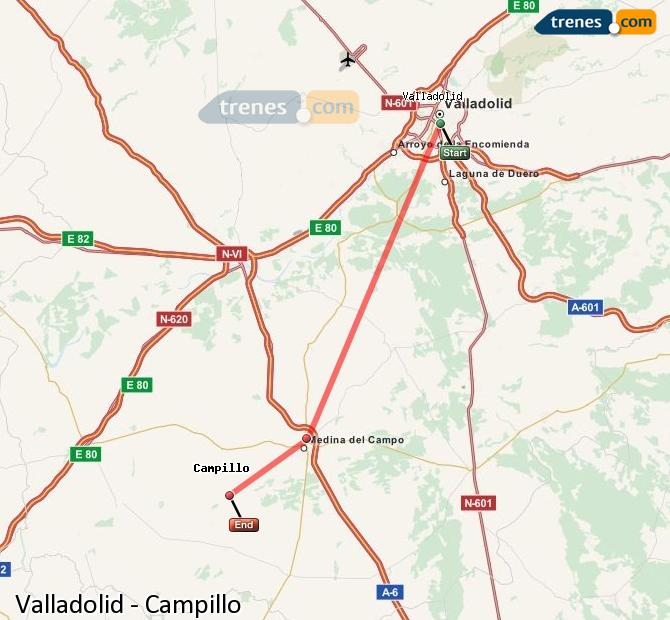 Enlarge map Trains Valladolid to Campillo